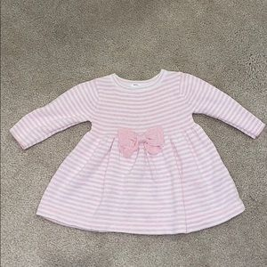 Baby girl pink and white stripe sweater dress